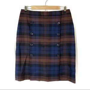 Brooks Brothers   Blue & Brown Plaid Button Skirt